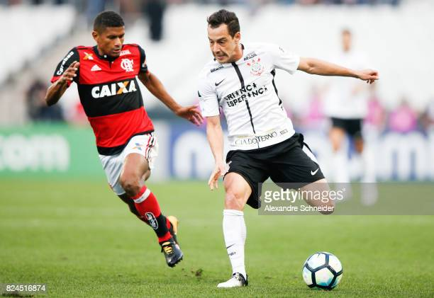 Marcio Araujo of Flamengo and Rodriguinho of Corinthians in action during the match between Corinthians and Flamengo for the Brasileirao Series A...