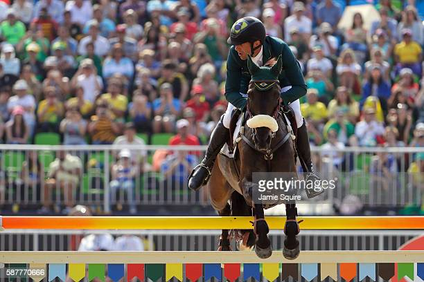 Marcio Carvalho Jorge of Brazil riding Lissy Mac Wayer during the eventing team jumping final and individual qualifier on Day 4 of the Rio 2016...