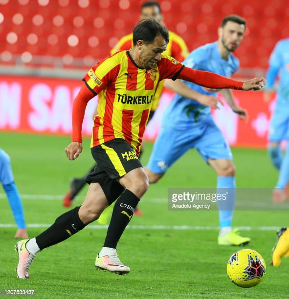 Marcio Mossoro of Goztepe in action during the Turkish Super Lig soccer match between Goztepe and Caykur Rizespor played behind closed doors over...