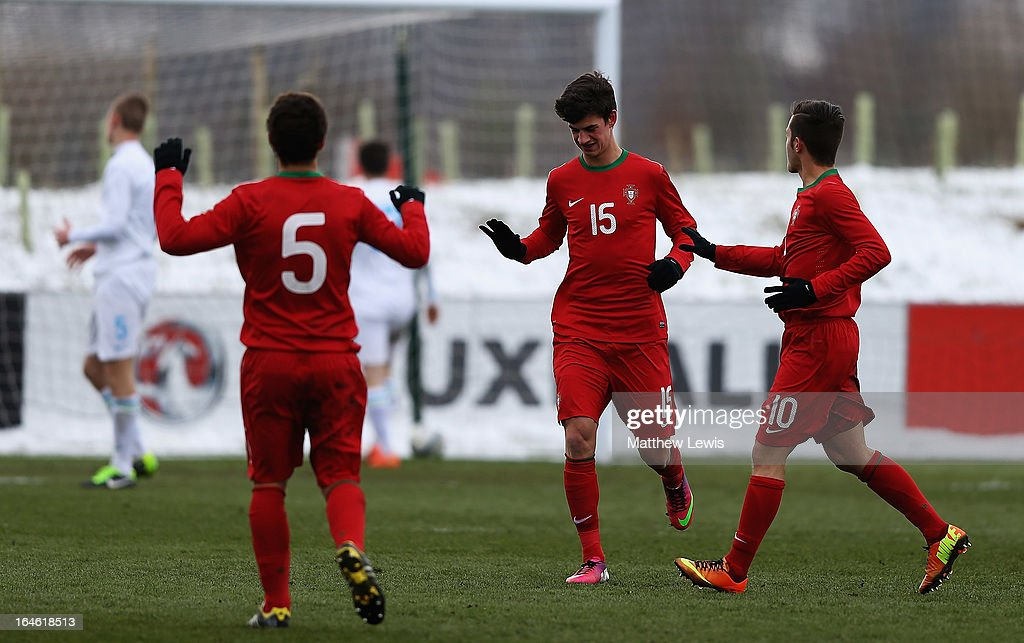 Marcio of Portugal celebrates his goal during the UEFA European Under-17 Championship Elite Round match between Slovenia and Portugal at St George's Park on March 25, 2013 in Burton-upon-Trent, England.