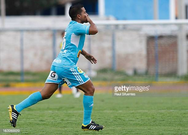Marcio Valverde of Sporting Cristal celebrates a goal during a match between Sport Huancayo and Sporting Cristal as part of The Torneo...
