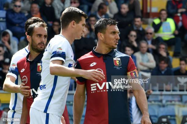 Marco Andreolli and Nicolas Burdisso during the Serie A match between Genoa CFC and FC Internazionale at Stadio Luigi Ferraris on May 7 2017 in Genoa...
