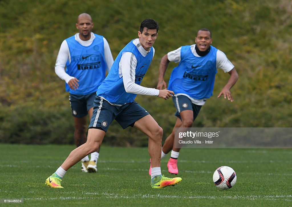 Marco Andreolli of FC Internazionale in action during the FC Internazionale training session at the club's training ground at Appiano Gentile on October 31, 2016 in Como, Italy.