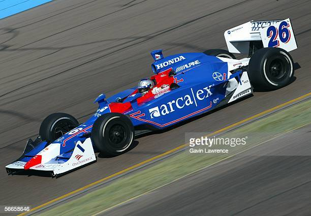 Marco Andretti driver of the ArcaEx Andretti Green Racing Dallara Honda is shown during testing for the IRL Indycar Series January 24 2006 at the...