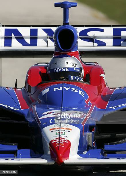 Marco Andretti driver of the ArcaEx Andretti Green Racing Dallara Honda during testing for the IRL Indycar Series on March 2 2006 at the Homestead...