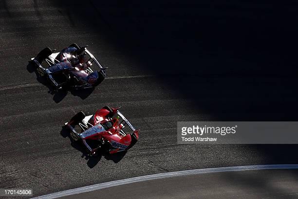 Marco Andretti driver of the RC Cola Andretti Autosport Chevrolet and EJ Viso of Venezuela driver of the Team Venezuela PDVSA/Andretti Autosport...