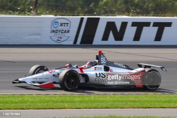 Marco Andretti driver of the US Concrete / Curb Honda Honda drives during the IndyCar Series ABC Supply 500 on August 18 2019 at Pocono Raceway in...