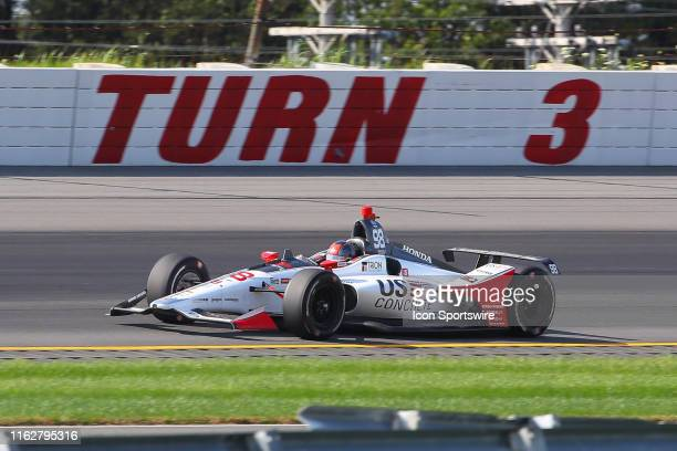 Marco Andretti driver of the US Concrete / Curb Honda Honda during the IndyCar Series ABC Supply 500 on August 18 2019 at Pocono Raceway in Long Pond...