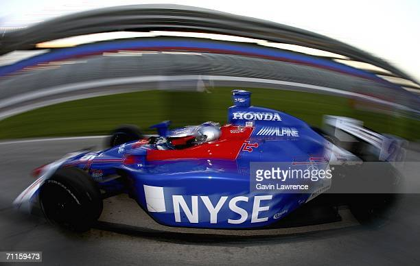 Marco Andretti drives the ArcaEx Andretti Green Racing Dallara Honda during practice on Oak Creek Homes Qualifying Day for the Indy Racing League...