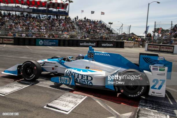 Marco Andretti drives the Honda IndyCar on the track during practice for the Grand Prix At Long Beach on April 7 2017 in Long Beach California
