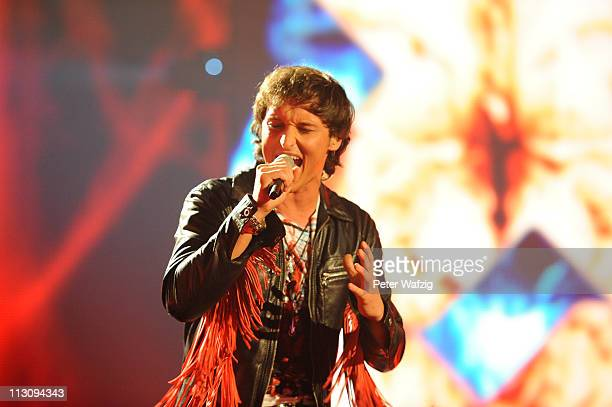 Marco Angelini performs his second song during the 'Deutschland Sucht Den Superstar' TV Show on April 23 2011 in Cologne Germany