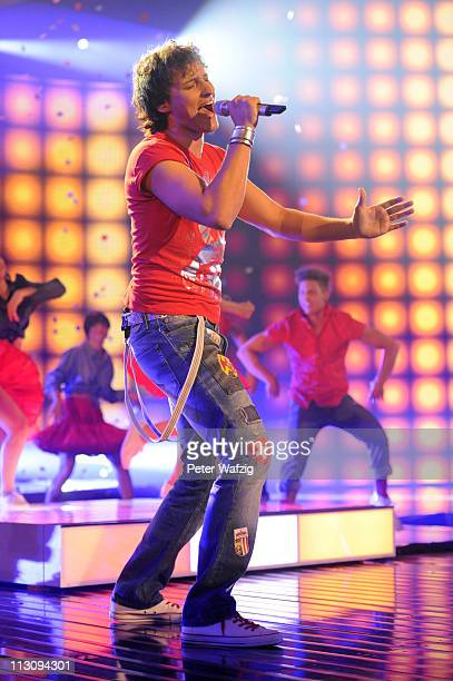 Marco Angelini performs his third song during the 'Deutschland Sucht Den Superstar' TV Show on April 23 2011 in Cologne Germany