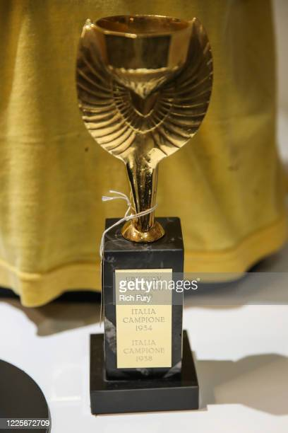 Marco Antonio 1970 Jules Rimet World Cup trophy is displayed at a press preview for sports legends featuring Kobe Bryant, FIFA and Olympic Medals at...