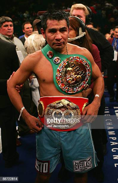 Marco Antonio Barrera celebrates his victory against Robbie Peden in the WBC-IBF Unification Super Featherweight World Title fight at the MGM Grand...