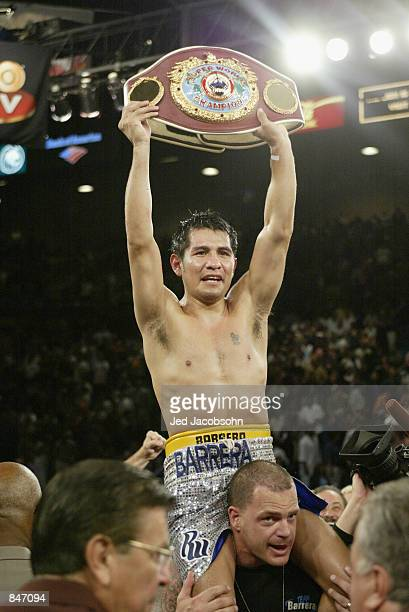 Marco Antonio Barrera celebrates his victory over Erik Morales during their World Featherweight Championship fight on June 22 2002 at the MGM Grand...