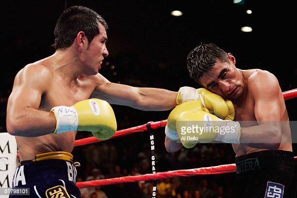 Marco Antonio Barrera lands a left hand to the head of Erik Morales during a fight for the WBC World Super Featherweight Championship at the MGM...