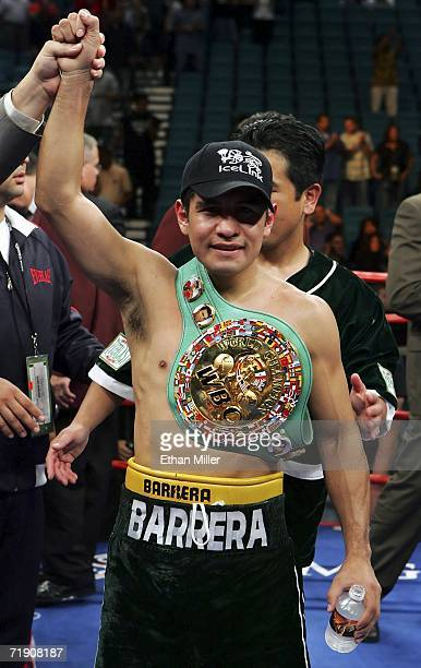 Marco Antonio Barrera of Mexico celebrates after defeating Ricardo Juarez during their WBC super featherweight titile fight at the MGM Grand Garden...