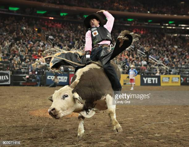 Marco Antonio Eguchi rides Pickles during the 2018 Professional Bull Riders Monster Energy Buck Off at the Garden at Madison Square Garden on January...