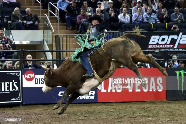Marco Antonio Eguchi rides Shockin Rockin during the PBR Unleash The Beast bull riding event at Madison Square Garden on January 04 2019 in New York...