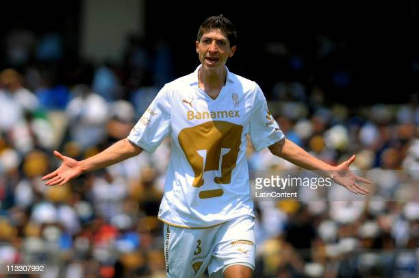 Marco Antonio Palacios of Pumas reacts during the Clausura Tournament 2011 at Olympic Stadium on May 01 2011 in Mexico City Mexico