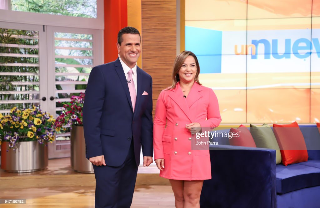Marco Antonio Regil and Adamari Lopez are seen at Telemundo's 'Un Nuevo Dia' on April 16, 2018 in Miami, Florida.