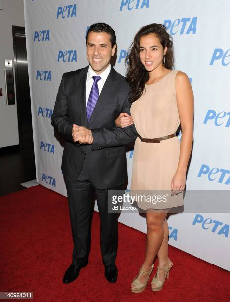 Marco Antonio Regil and Cristina Rodlo attend the grand opening of PETA's new Bob Barker building at The Bob Barker Building on March 8 2012 in Los...