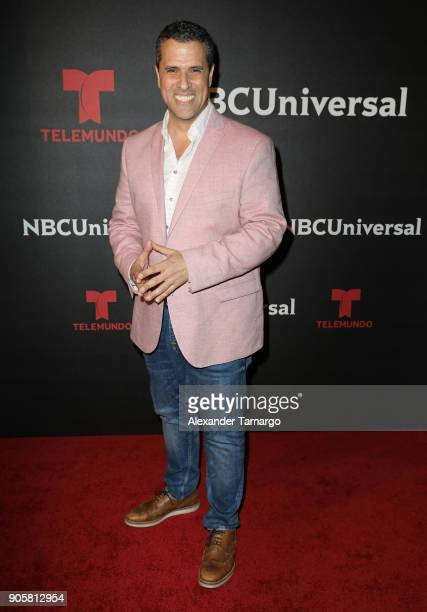 Marco Antonio Regil arrives at the Telemundo and NBC Universal Latin America NATPE Red Carpet Event at LIV at the Fontainebleau on January 16 2018 in...