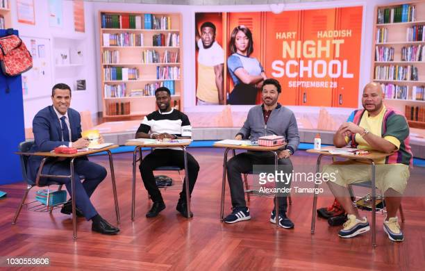 Marco Antonio Regil Kevin Hart Al Madrigal and Fat Joe are seen on the set of Telemundo's 'Un Nuevo Dia' morning show on September 10 2018 in Miami...
