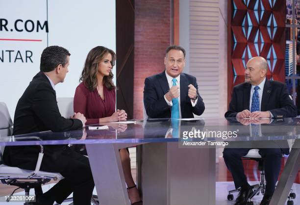 Marco Antonio Regil Paulina Sodi Jose Diaz Balart and Arturo Vargas are seen on the set of Un Nuevo Dia for the Hazte Contar 2020 Census Campaign at...