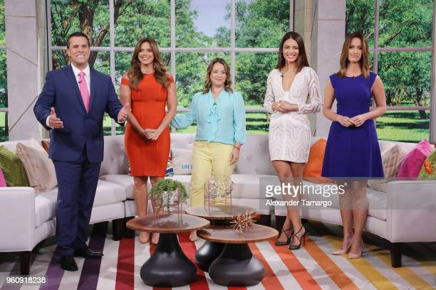 Marco Antonio Regil Rashel Diaz Adamari Lopez Zuleyka Rivera and Paulina Sodi on the new set of Un Nuevo Dia at Telemundo Center on May 21 2018 in...