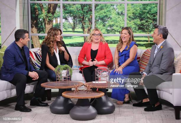 Marco Antonio Regil Rashel Diaz Ednita Nazario Adamari Lopez and Hector Sandarti are seen on set of Un Nuevo Dia as they celebrate Adamari Lopez 40...