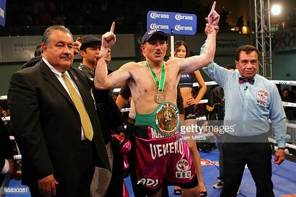 Marco Antonio Rubio celebrates his victory against Rigoberto Alvarez during their CMB Latinamerican Championship title match in Gomez Palacio on...