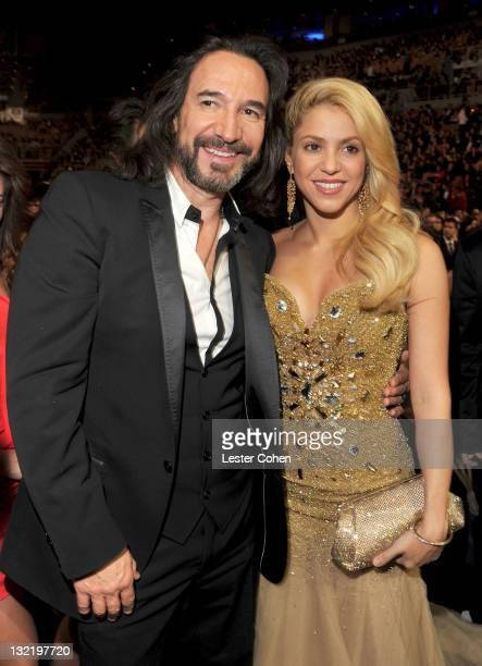 Marco Antonio Solis and Shakira pose backstage at the 12th Annual Latin GRAMMY Awards held at the Mandalay Bay Events Center on November 10, 2011 in...