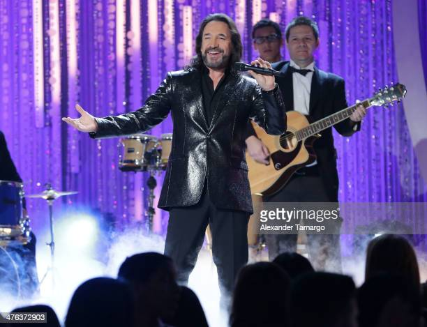 Marco Antonio Solis is seen performing during the premiere show of Univision's Nuestra Belleza Latina at Univision Headquarters on March 2 2014 in...