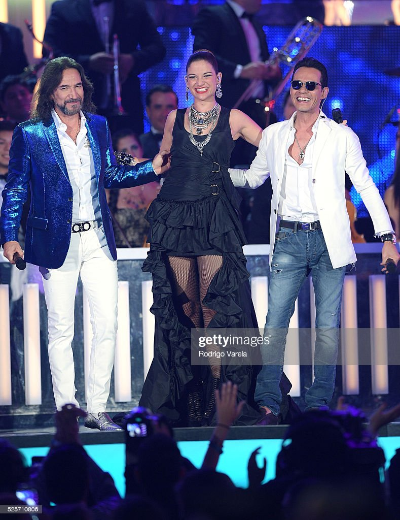 Marco Antonio Solis, Natalia Jimenez and Marc Anthony perform onstage at the Billboard Latin Music Awards at Bank United Center on April 28, 2016 in Miami, Florida.