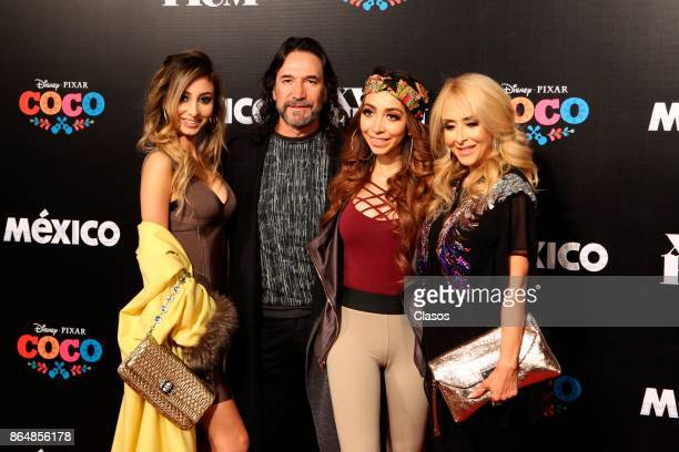 Marco Antonio Solis poses with his family during the red carpet of the new animated film by Pixar 'Coco' as part of the XV Morelia International Film...