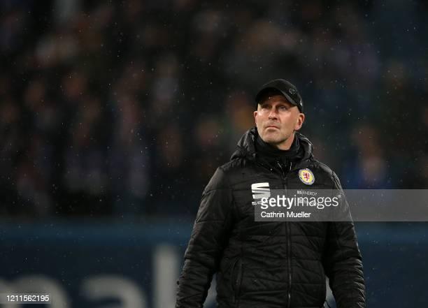 Marco Antwerpen head coach of Eintracht Braunschweig looks on during the 3 Liga match between Hansa Rostock and Eintracht Braunschweig at...