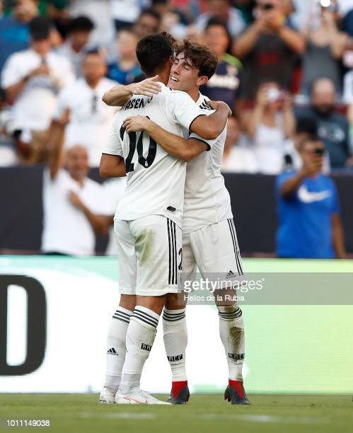 Marco Asensio and Alvaro Odriozola of Real Madrid celebrate after scoring during the International Champions Cup 2018 match between Real Madrid and...