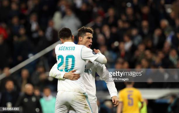 Marco Asensio and Cristiano Ronaldo celebrate the semifinal pass after the UEFA Champions league round of quarter final match second leg football...
