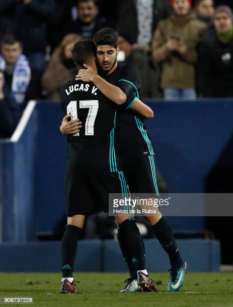 Marco Asensio and Lucas Vazquez of Real Madrid celebrates after scoring the opening goal during the Spanish Copa del Rey Quarter Final First Leg...