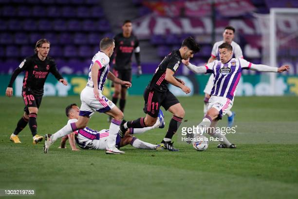 Marco Asensio and Luka Modric from Real Madrid during the La Liga Santander match between Real Valladolid CF and Real Madrid at Estadio Municipal...