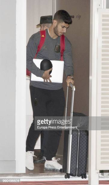Marco Asensio arrives at Barajas Adolfo Suarez international airport on July 2 2018 in Madrid Spain