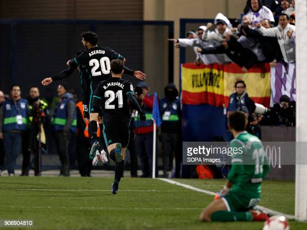 STADIUM LEGANéS MADRID SPAIN Marco Asensio celebrate after scored during the match Jan 2018 Leganés CD and Real Madrid CF at Butarque Stadium Copa...