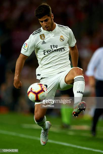 Marco Asensio controls the ball during the match between Athletic Club against Real Madrid at San Mames Stadium in Bilbao Spain on September 15 2018