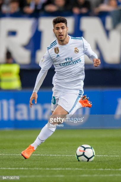 Marco Asensio controls the ball during the match between Malaga CF against Real Madrid week 32 of La Liga 2017/18 in Rosaleda stadium Malaga SPAIN...