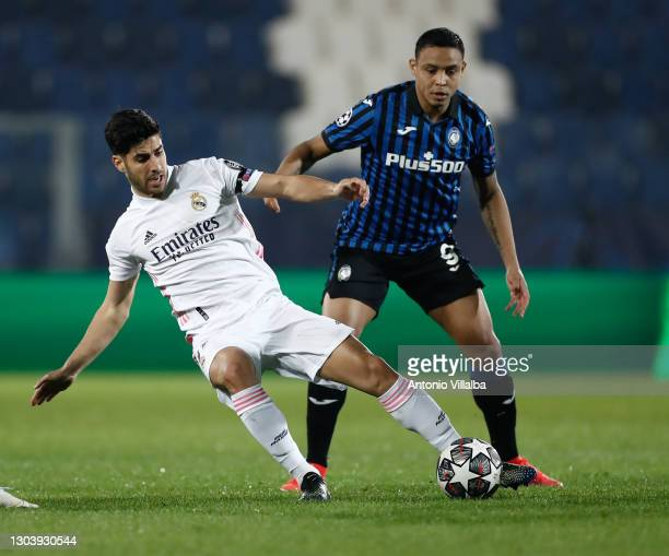 Marco Asensio from Real Madrid CF during the UEFA Champions League Round of 16 match between Atalanta and Real Madrid at Gewiss Stadium on February...