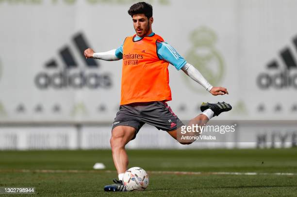 Marco Asensio from Real Madrid in action at the Valdebebas training ground on February 18, 2021 in Madrid, Spain.