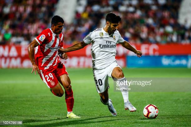 20 Marco Asensio from Spain of Real Madrid during the La Liga game between Girona FC against Real Madrid in Montilivi Stadium at Girona on 26 of...
