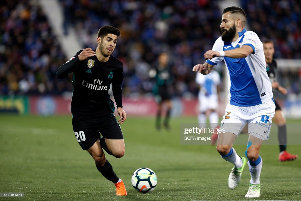 BUTARQUE, LEGANES, MADRID, SPAIN - : Marco Asensio (Real Madrid) in action during the match between Leganes vs Real Madrid at the Estadio Butarque. Final Score Leganes 1 Real Madrid 3.