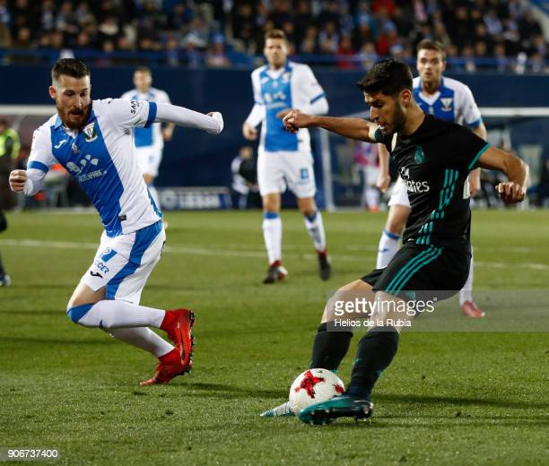 Marco Asensio in action during the Spanish Copa del Rey Quarter Final First Leg match between Leganes and Real Madrid at Estadio Municipal de...